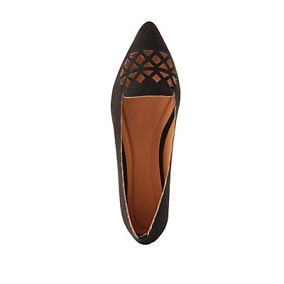 Laser Cut Pointed Toe Flats