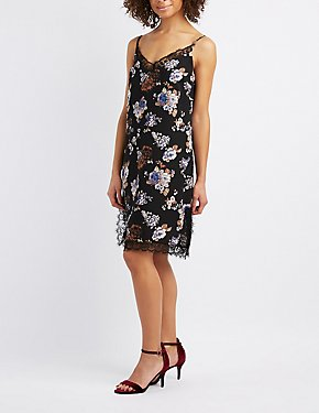 Floral Lace-Trim Slip Dress