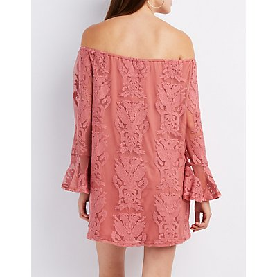 Lace Off-The-Shoulder Shift Dress