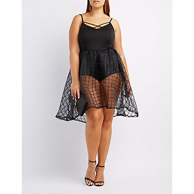 Plus Size Strappy Tulle Overlay Dress