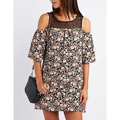 Floral & Crochet Cold Shoulder Shift Dress