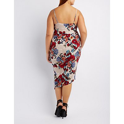 Plus Size Floral Asymmetrical Wrap Dress