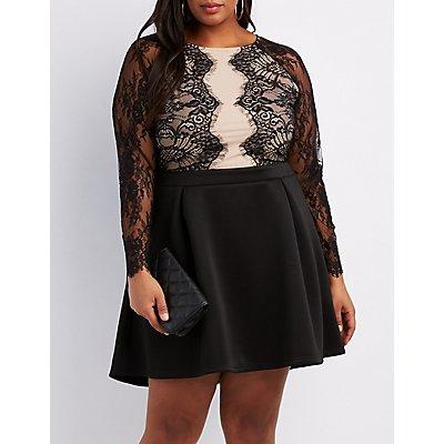 Plus Size Lace Bodice Skater Dress