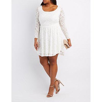Plus Size Floral Lace Skater Dress