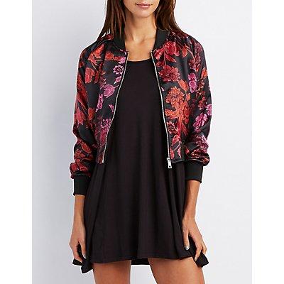Satin Floral Bomber Jacket