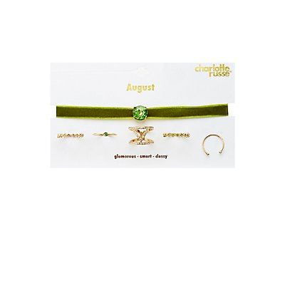 August Birthstone Choker Necklace & Rings Set