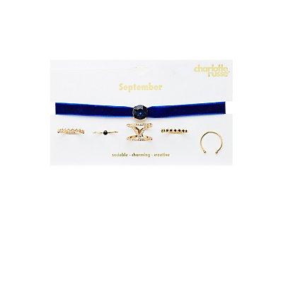 September Birthstone Choker Necklace & Rings Set