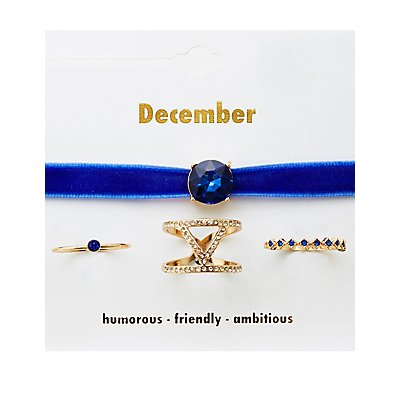 December Birthstone Choker Necklace & Rings Set
