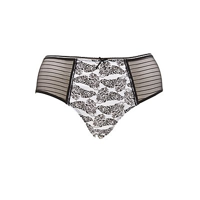 Plus Size Striped Mesh Printed Panties