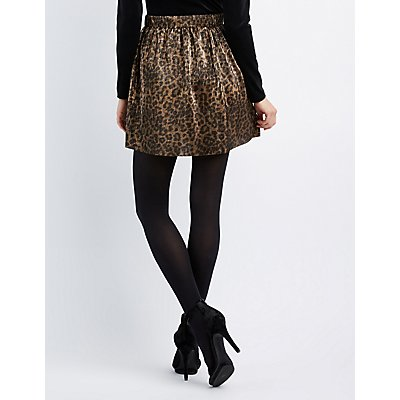 Leopard Micro Pleated Skater Skirt
