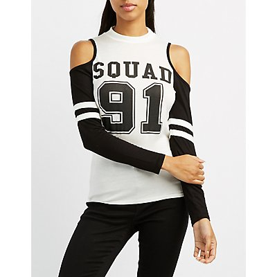 Squad 91 Cold Shoulder Football Tee