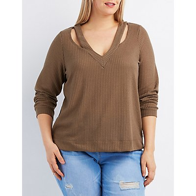 Plus Size Waffle Knit Cut-Out Top