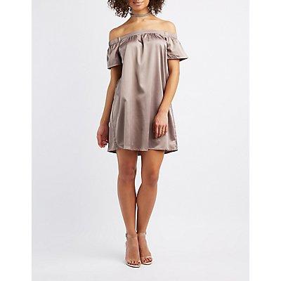 Satin Off-The-Shoulder Shift Dress