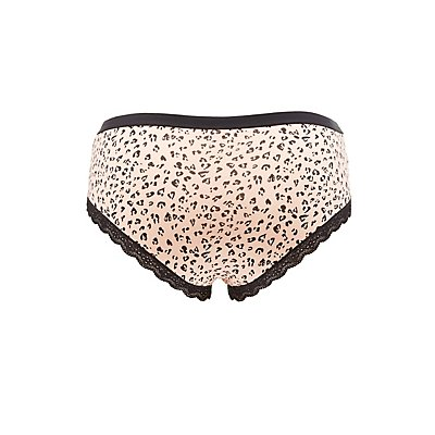 Plus Size Printed Lace-Trim Hipster Panties