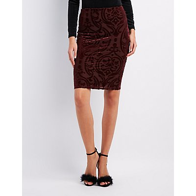 Flocked Velvet Pencil Skirt