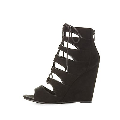 Cut-Out Lace-Up Wedge Sandals