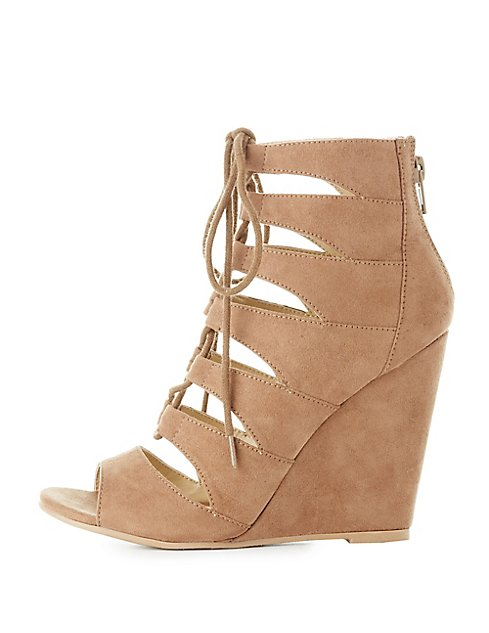 0d9a8aeb03a38 Cut-Out Lace-Up Wedge Sandals