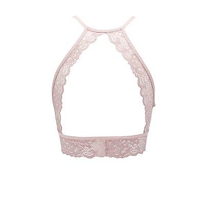 Lace Bib Neck Cut-Out Bralette