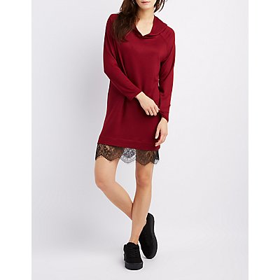 Lace-Trim Hooded Sweatshirt Dress