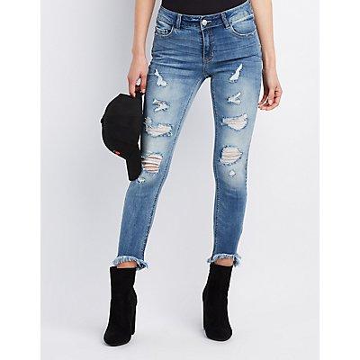 Refuge Frayed Hem Destroyed Skinny Jeans