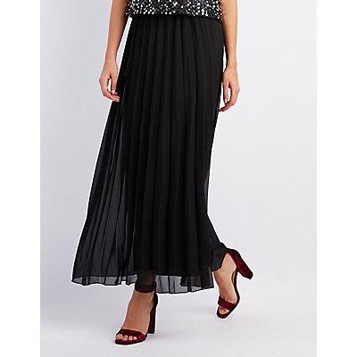 Woven Pleated Maxi Skirt