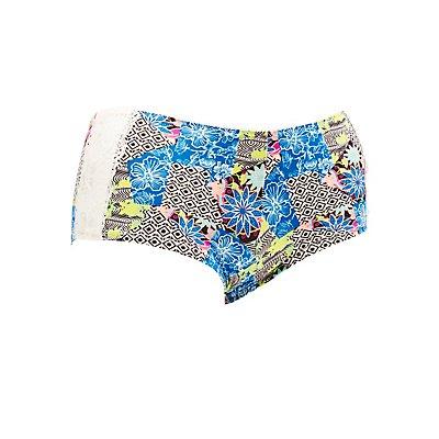 Plus Size Printed Lace-Trim Boyshort Panties