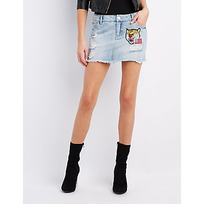 Refuge Patches Destroyed Denim Mini Skirt