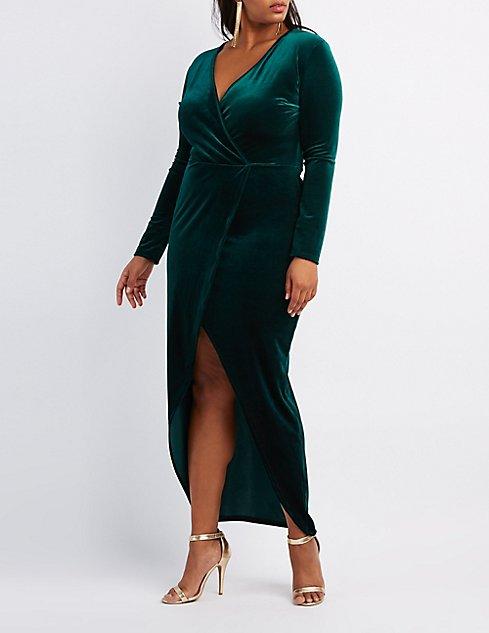 Plus Size Velvet Surplice Maxi Dress Charlotte Russe
