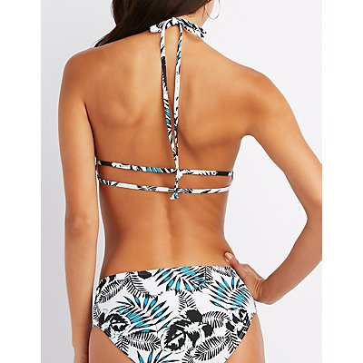 Tropical Print Halter Cut-Out Bikini Top