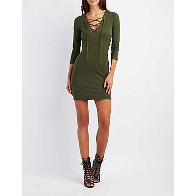 Ribbed Lace-Up Bodycon Dress