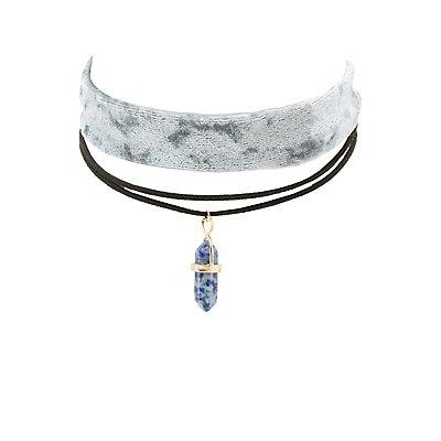 Velvet & Crystal Charm Choker Necklaces - 2 Pack