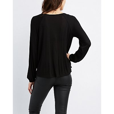Ribbed T-Strap Surplice Top