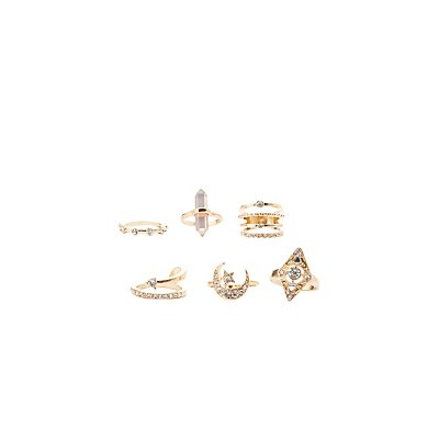 Embellished Stackable Rings - 6 Pack