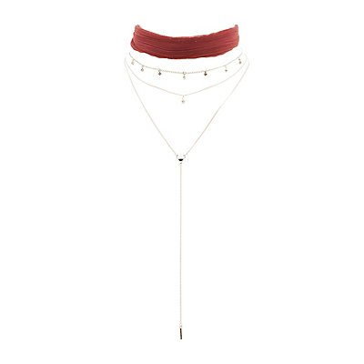 Pleated Choker & Chainlink Layered Necklace - 2 Pack