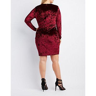 Plus Size Velvet Lace-Up Bodycon Dress