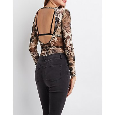 Floral Mesh Cut-Out Bodysuit