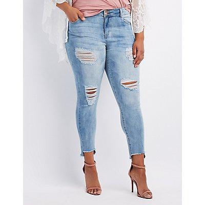 Plus Size Refuge Step Hem Destroyed Boyfriend Jeans