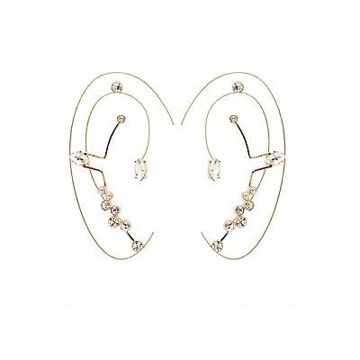 Rhinestone Ear Cuffs & Stud Earrings Set
