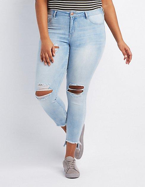 7758d47659 Plus Size Refuge Skin Tight Legging Destroyed Jeans | Charlotte Russe