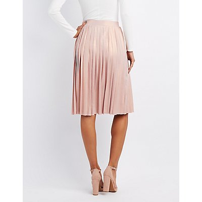 Shimmer Pleated Midi Skirt