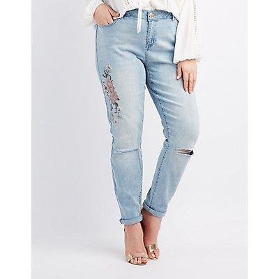 Plus Size Refuge Embroidered Boyfriend Jeans