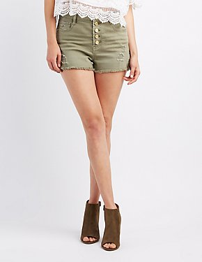Refuge Hi-Rise Cheeky Destroyed Denim Shorts