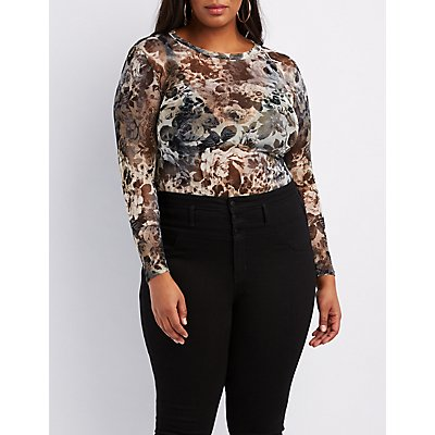 Plus Size Floral Mesh Cut-Out Bodysuit