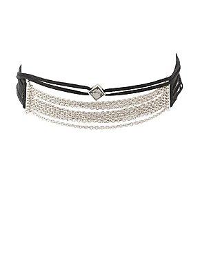 Chainlink & Faux Suede Choker Necklace