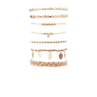 Beaded, Rhinestone & Chainlink Layering Bracelets - 7 Pack