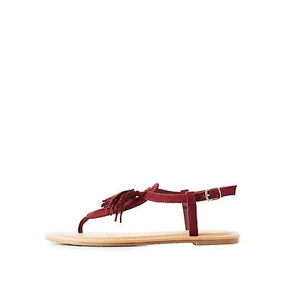 Tassel T-Strap Sandals