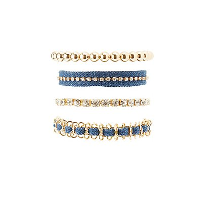Denim, Rhinestone & Beaded Layering Bracelets - 4 Pack