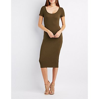 Ribbed Scoop Neck Midi Dress
