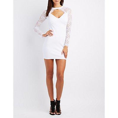 Lace-Trim Cut-Out Bodycon Dress