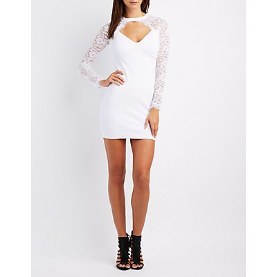 Lace-Trim Cut-Out Bodycon Dress
